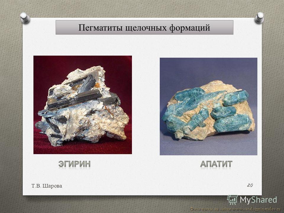 Т. В. Шарова 20 Фото взяты на сайте www.catalogmineralov.ru Пегматиты щелочных формаций