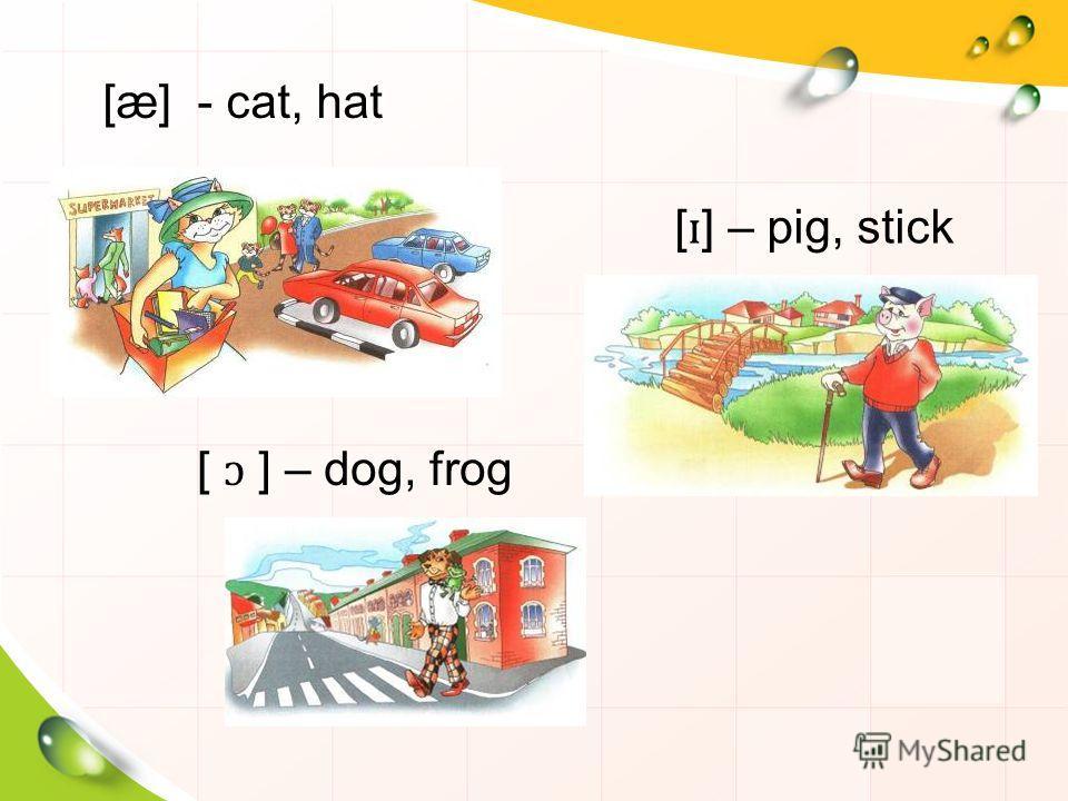 [æ] - cat, hat [ ɪ ] – pig, stick [ ɔ ] – dog, frog