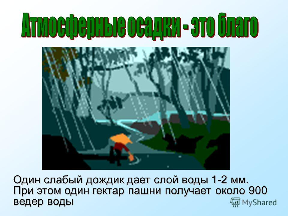 Один слабый дождик дает слой воды 1-2 мм. При этом один гектар пашни получает около 900 ведер воды