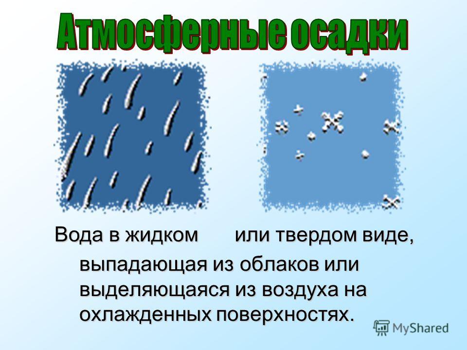 выпадающая из облаков или выделяющаяся из воздуха на охлажденных поверхностях. Вода в жидком или твердом виде,