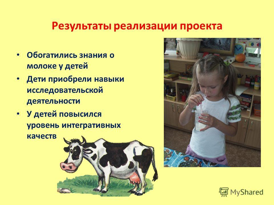 Результаты реализации проекта Обогатились знания о молоке у детей Дети приобрели навыки исследовательской деятельности У детей повысился уровень интегративных качеств