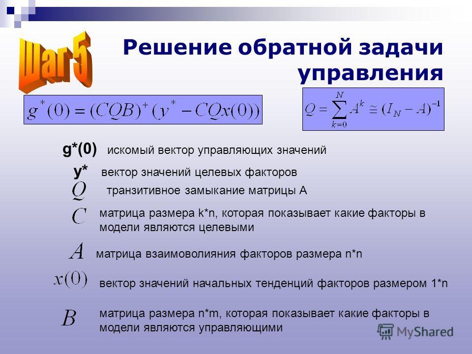 Решение обратной задачи управления матрица взаимоволияния факторов размера n*n вектор значений начальных тенденций факторов размером 1*n транзитивное замыкание матрицы A матрица размера k*n, которая показывает какие факторы в модели являются целевыми