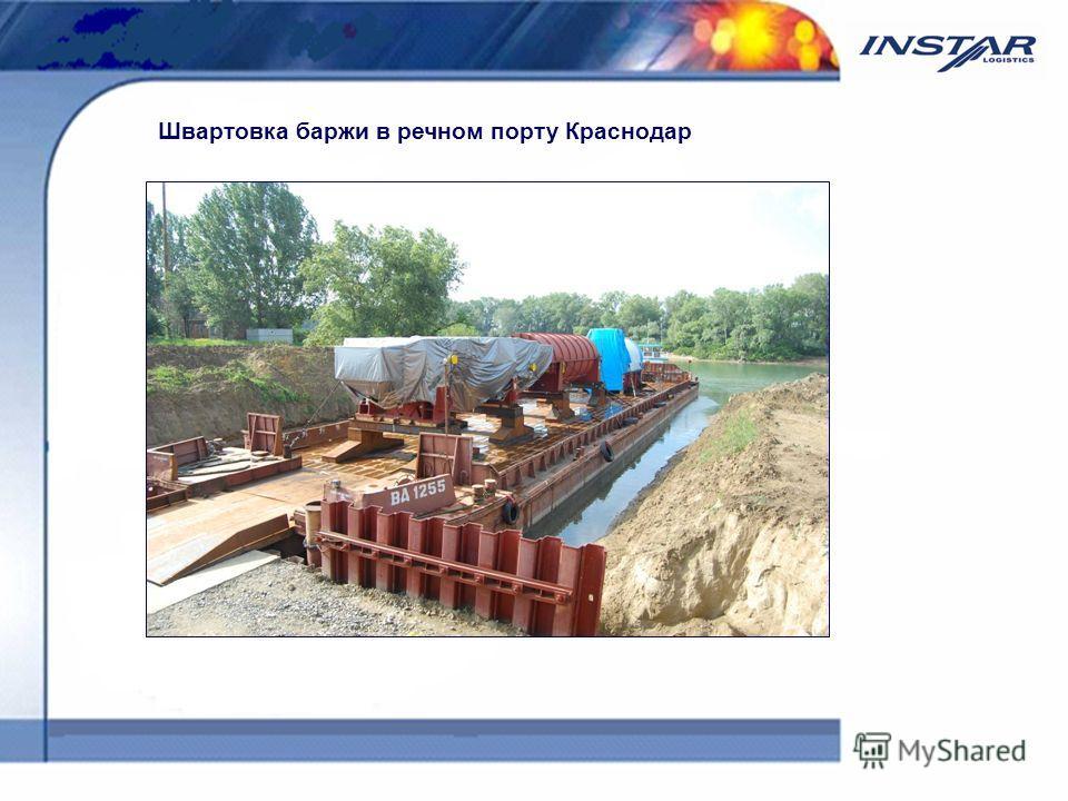Швартовка баржи в речном порту Краснодар