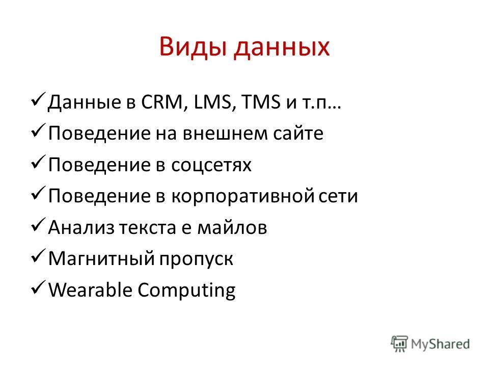 Виды данных Данные в CRM, LMS, TMS и т.п… Поведение на внешнем сайте Поведение в соцсетях Поведение в корпоративной сети Анализ текста е майлов Магнитный пропуск Wearable Computing