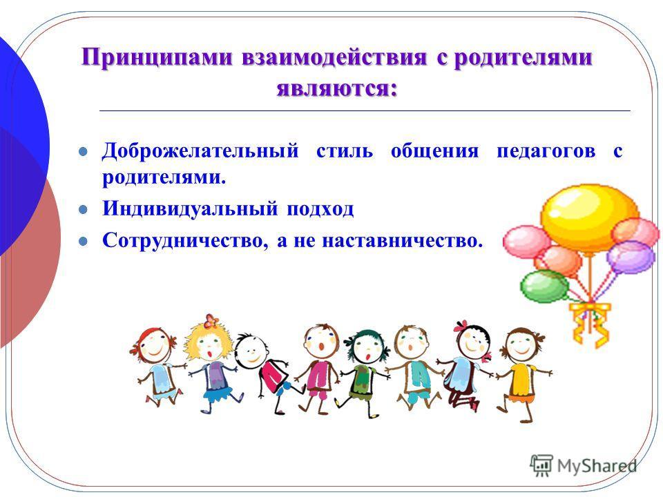 Принципами взаимодействия с родителями являются: Доброжелательный стиль общения педагогов с родителями. Индивидуальный подход Сотрудничество, а не наставничество.
