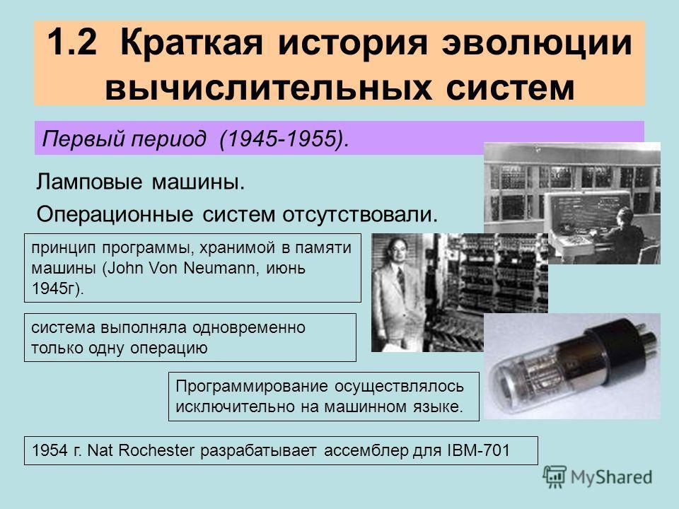 1.2 Краткая история эволюции вычислительных систем Ламповые машины. Операционные систем отсутствовали. Первый период (1945-1955). принцип программы, хранимой в памяти машины (John Von Neumann, июнь 1945г). система выполняла одновременно только одну о