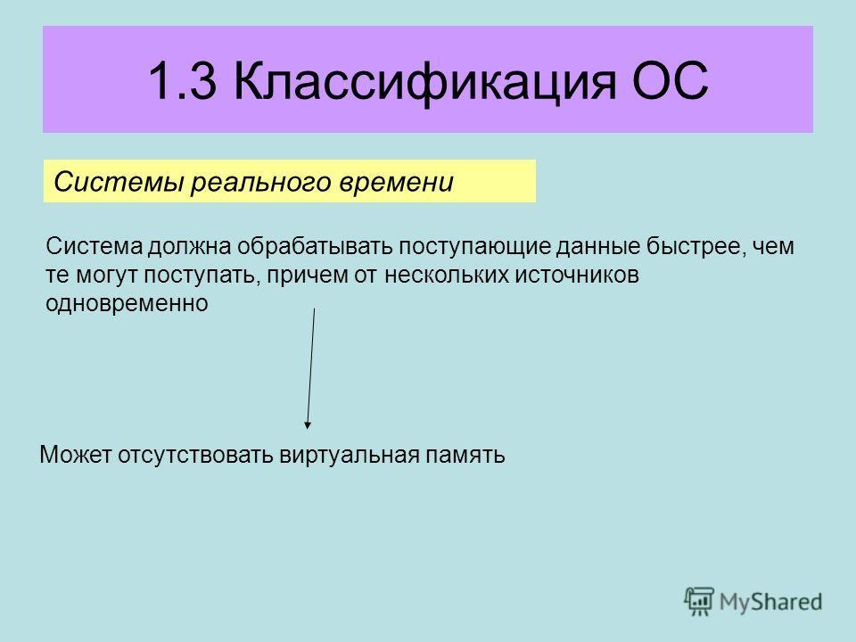 1.3 Классификация ОС Системы реального времени Система должна обрабатывать поступающие данные быстрее, чем те могут поступать, причем от нескольких источников одновременно Может отсутствовать виртуальная память
