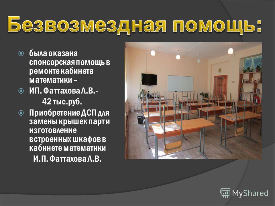 была оказана спонсорская помощь в ремонте кабинета математики – ИП. Фаттахова Л.В.- 42 тыс.руб. Приобретение ДСП для замены крышек парт и изготовление встроенных шкафов в кабинете математики И.П. Фаттахова Л.В.
