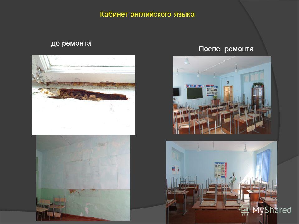Кабинет английского языка до ремонта После ремонта