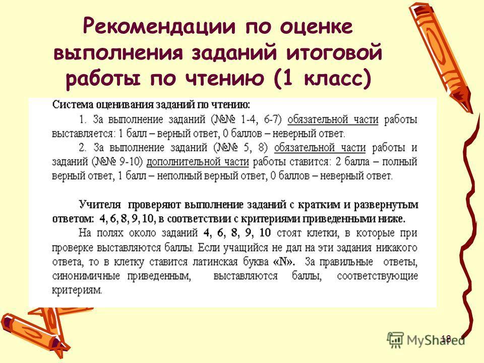 18 Рекомендации по оценке выполнения заданий итоговой работы по чтению (1 класс)