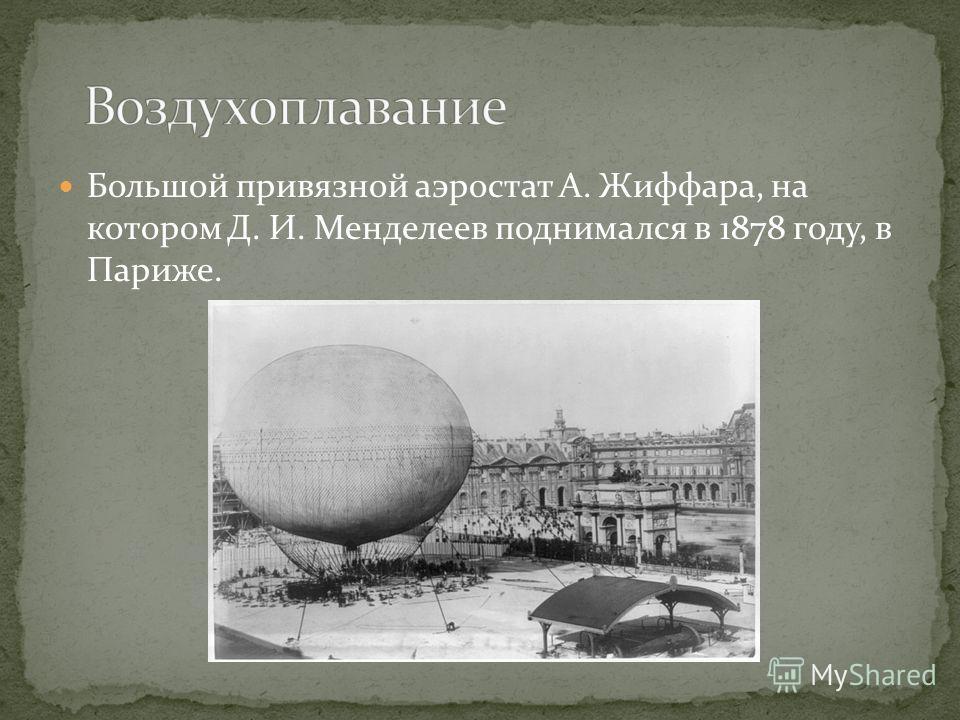Большой привязной аэростат А. Жиффара, на котором Д. И. Менделеев поднимался в 1878 году, в Париже.