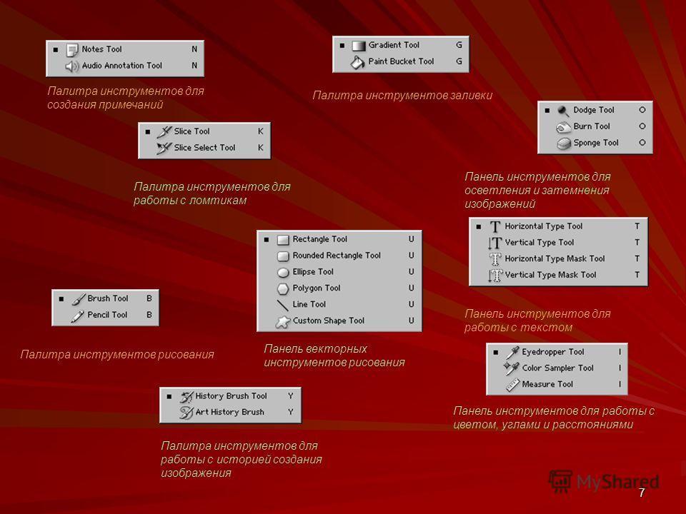 7 Панель векторных инструментов рисования Палитра инструментов для создания примечаний Палитра инструментов для работы с ломтикам Палитра инструментов рисования Палитра инструментов для работы с историей создания изображения Палитра инструментов зали