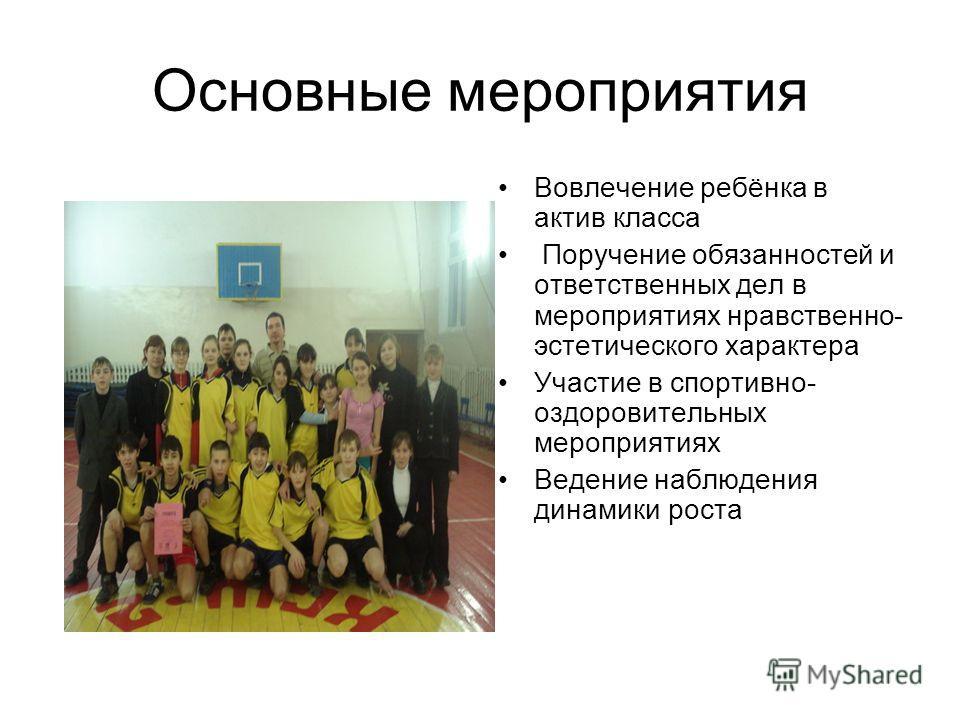 Основные мероприятия Вовлечение ребёнка в актив класса Поручение обязанностей и ответственных дел в мероприятиях нравственно- эстетического характера Участие в спортивно- оздоровительных мероприятиях Ведение наблюдения динамики роста