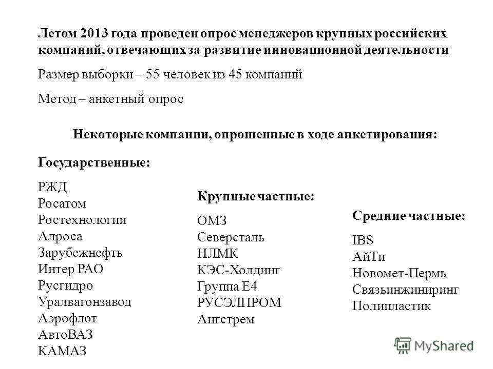 Летом 2013 года проведен опрос менеджеров крупных российских компаний, отвечающих за развитие инновационной деятельности Размер выборки – 55 человек из 45 компаний Метод – анкетный опрос Некоторые компании, опрошенные в ходе анкетирования: Государств