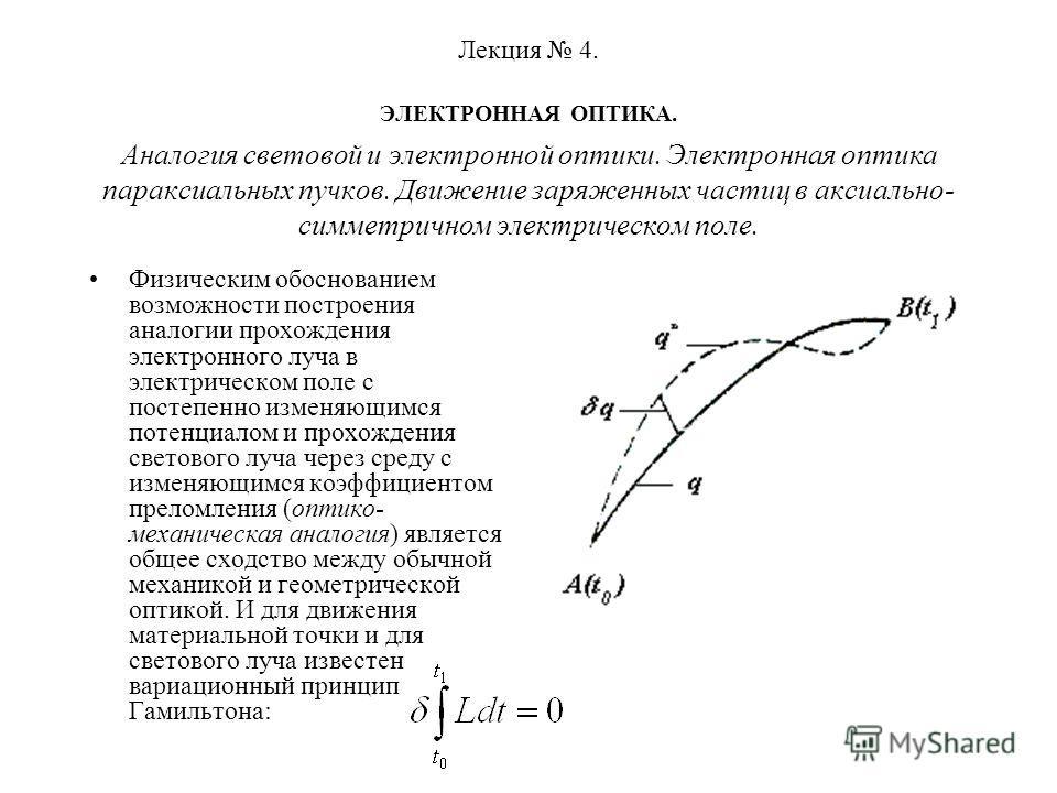 Лекция 4. ЭЛЕКТРОННАЯ ОПТИКА. Аналогия световой и электронной оптики. Электронная оптика параксиальных пучков. Движение заряженных частиц в аксиально- симметричном электрическом поле. Физическим обоснованием возможности построения аналогии прохождени