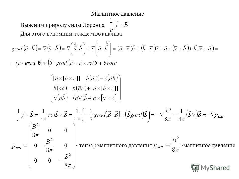 Магнитное давление Выясним природу силы Лоренца Для этого вспомним тождество анализа - тензор магнитного давления -магнитное давление