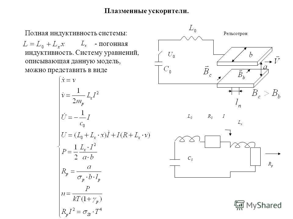 Плазменные ускорители. Полная индуктивность системы: - погонная индуктивность. Систему уравнений, описывающая данную модель, можно представить в виде Рельсотрон R0R0 L0L0 C0C0 LxLx RpRp I