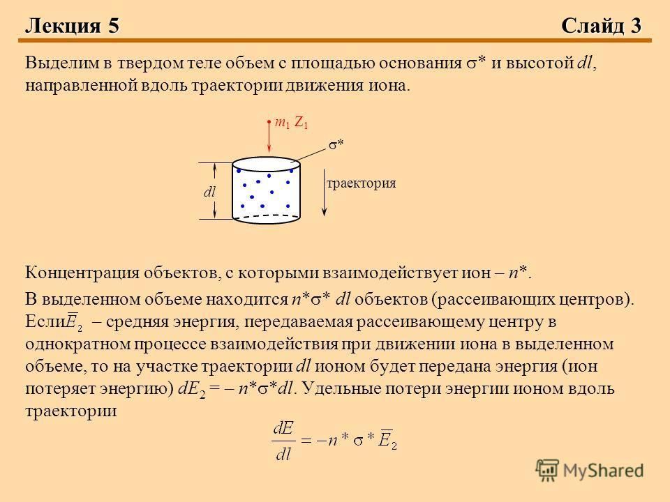 Лекция 5Слайд 3 Выделим в твердом теле объем с площадью основания * и высотой dl, направленной вдоль траектории движения иона. Концентрация объектов, с которыми взаимодействует ион – n*. В выделенном объеме находится n* * dl объектов (рассеивающих це