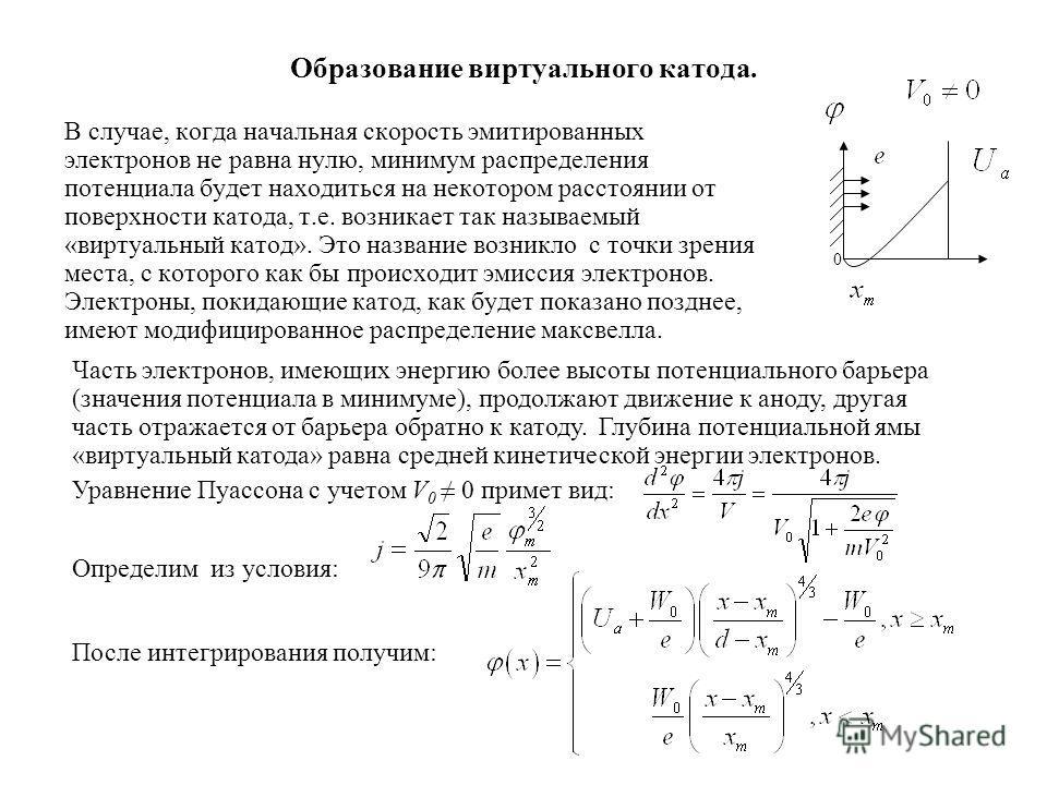 Образование виртуального катода. В случае, когда начальная скорость эмитированных электронов не равна нулю, минимум распределения потенциала будет находиться на некотором расстоянии от поверхности катода, т.е. возникает так называемый «виртуальный ка