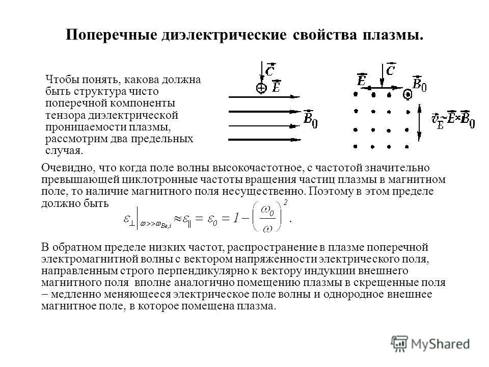 Поперечные диэлектрические свойства плазмы. Чтобы понять, какова должна быть структура чисто поперечной компоненты тензора диэлектрической проницаемости плазмы, рассмотрим два предельных случая. Очевидно, что когда поле волны высокочастотное, с часто