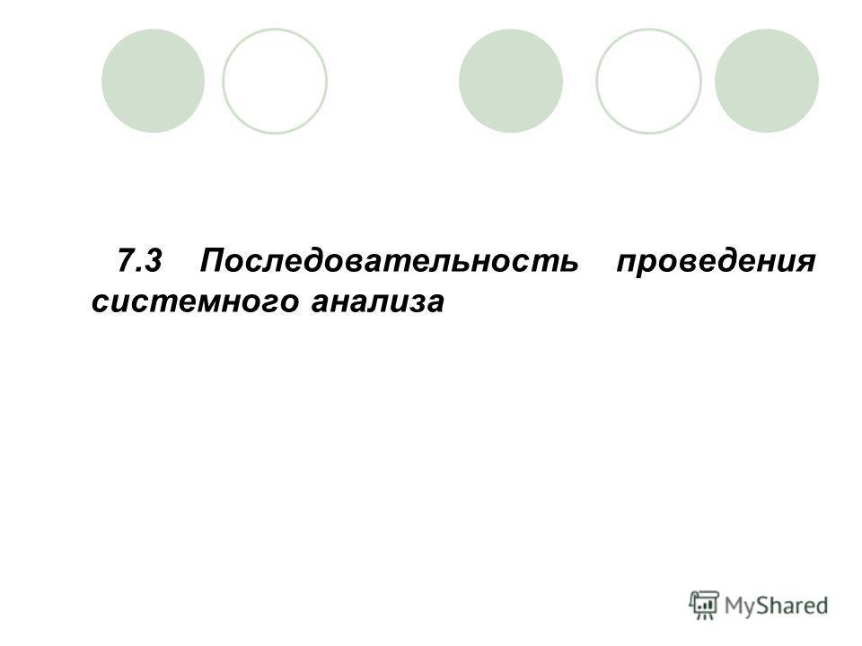 7.3 Последовательность проведения системного анализа