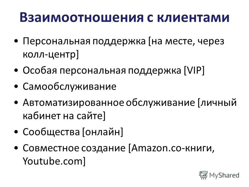 Взаимоотношения с клиентами Персональная поддержка [на месте, через колл-центр] Особая персональная поддержка [VIP] Самообслуживание Автоматизированное обслуживание [личный кабинет на сайте] Сообщества [онлайн] Совместное создание [Amazon.co-книги, Y