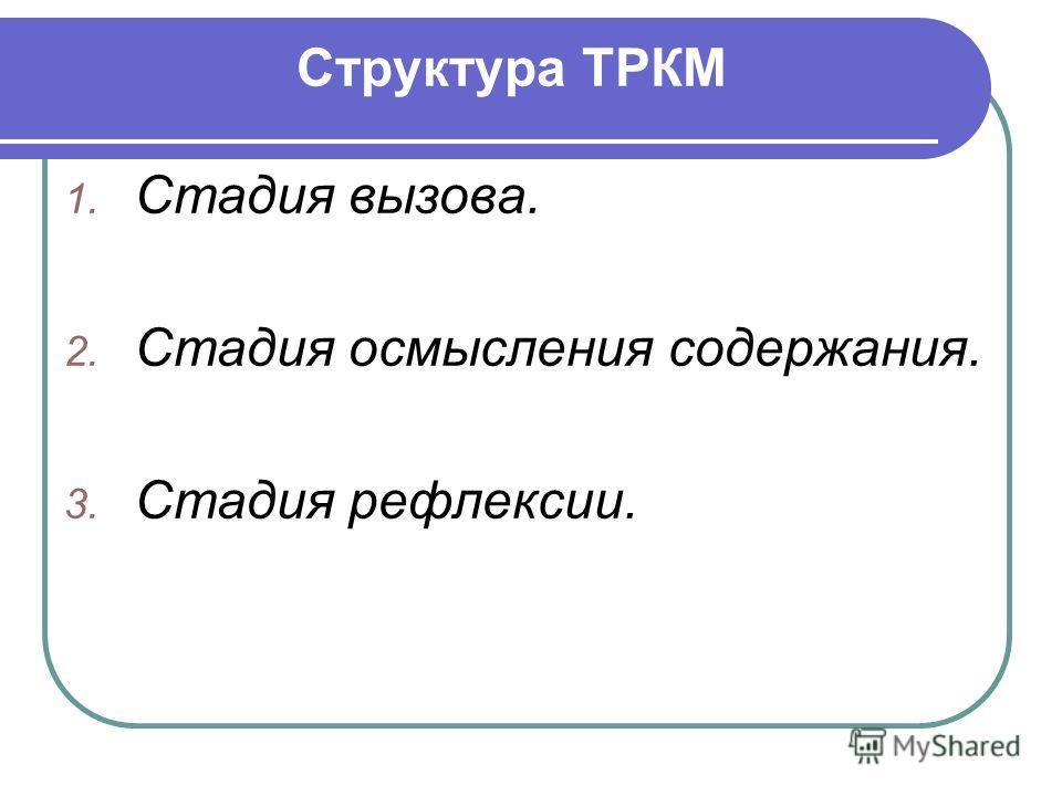 Структура ТРКМ 1. Стадия вызова. 2. Стадия осмысления содержания. 3. Стадия рефлексии.