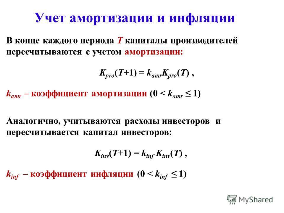 Учет амортизации и инфляции В конце каждого периода Т капиталы производителей пересчитываются с учетом амортизации: K pro (T+1) = k amr K pro (T), k amr – коэффициент амортизации (0 < k amr 1) Аналогично, учитываются расходы инвесторов и пересчитывае