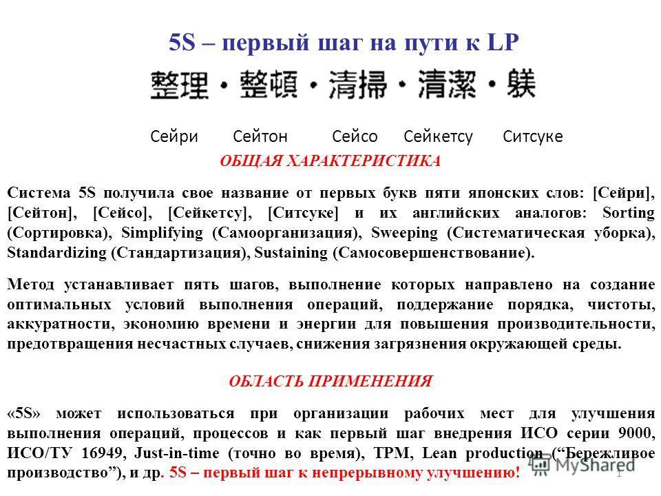 1 ОБЩАЯ ХАРАКТЕРИСТИКА Система 5S получила свое название от первых букв пяти японских слов: [Сейри], [Сейтон], [Сейсо], [Сейкетсу], [Ситсуке] и их английских аналогов: Sorting (Сортировка), Simplifying (Самоорганизация), Sweeping (Систематическая убо