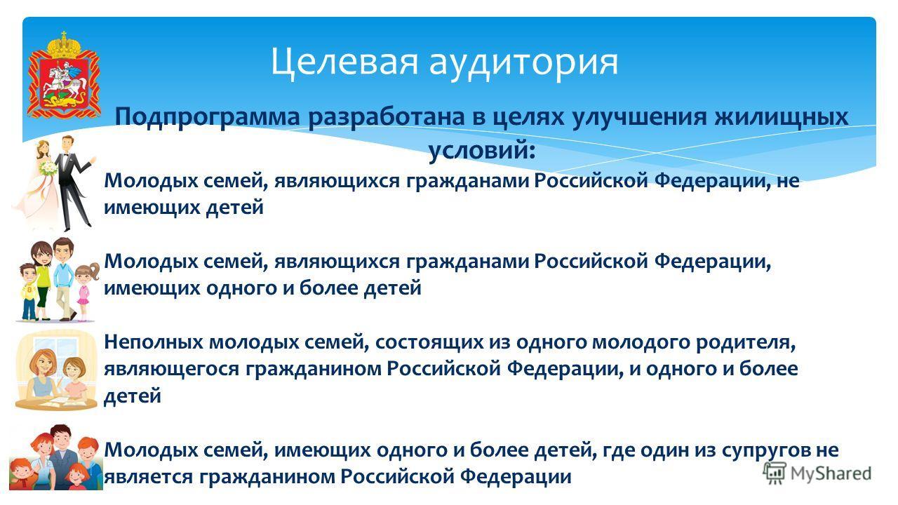 Целевая аудитория Подпрограмма разработана в целях улучшения жилищных условий: Молодых семей, являющихся гражданами Российской Федерации, не имеющих детей Молодых семей, являющихся гражданами Российской Федерации, имеющих одного и более детей Неполны