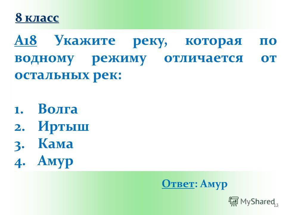 13 А18 Укажите реку, которая по водному режиму отличается от остальных рек: 1.Волга 2.Иртыш 3.Кама 4.Амур Ответ: Амур 8 класс