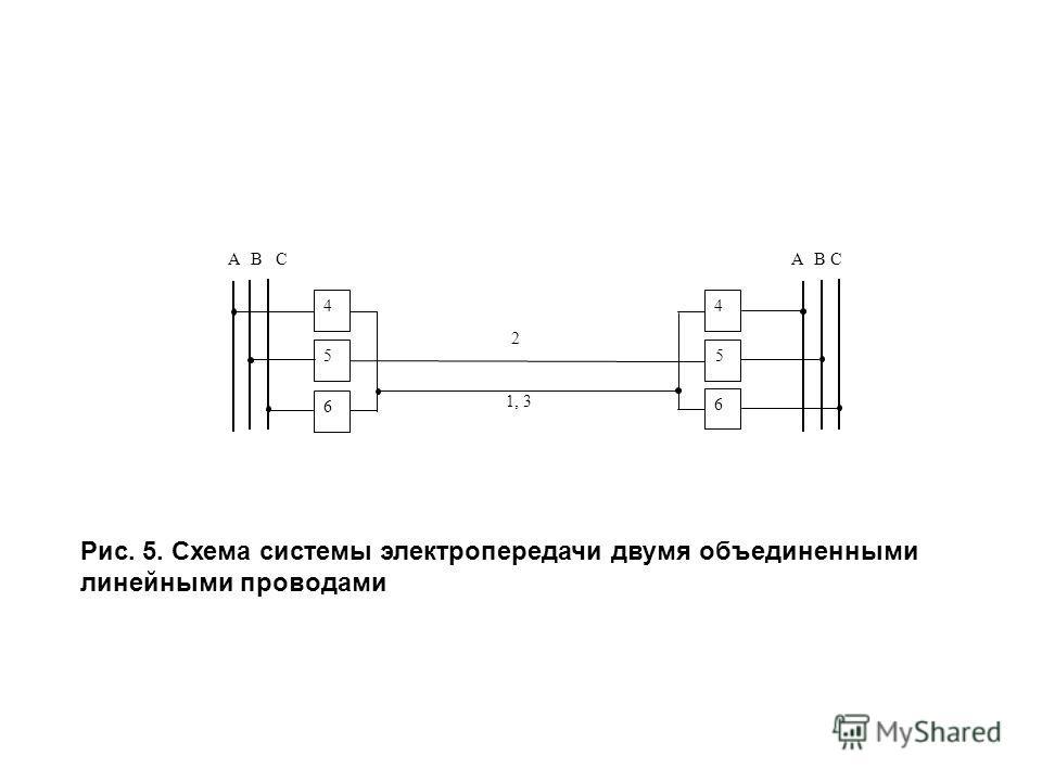 АВСАВС 44 6 6 2 1, 3 55 Рис. 5. Схема системы электропередачи двумя объединенными линейными проводами