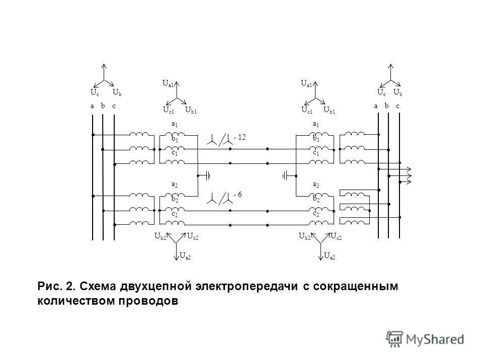 Рис. 2. Схема двухцепной электропередачи с сокращенным количеством проводов
