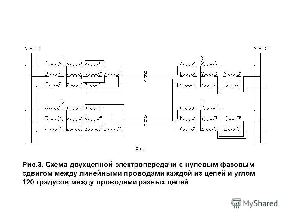 Рис.3. Схема двухцепной электропередачи с нулевым фазовым сдвигом между линейными проводами каждой из цепей и углом 120 градусов между проводами разных цепей