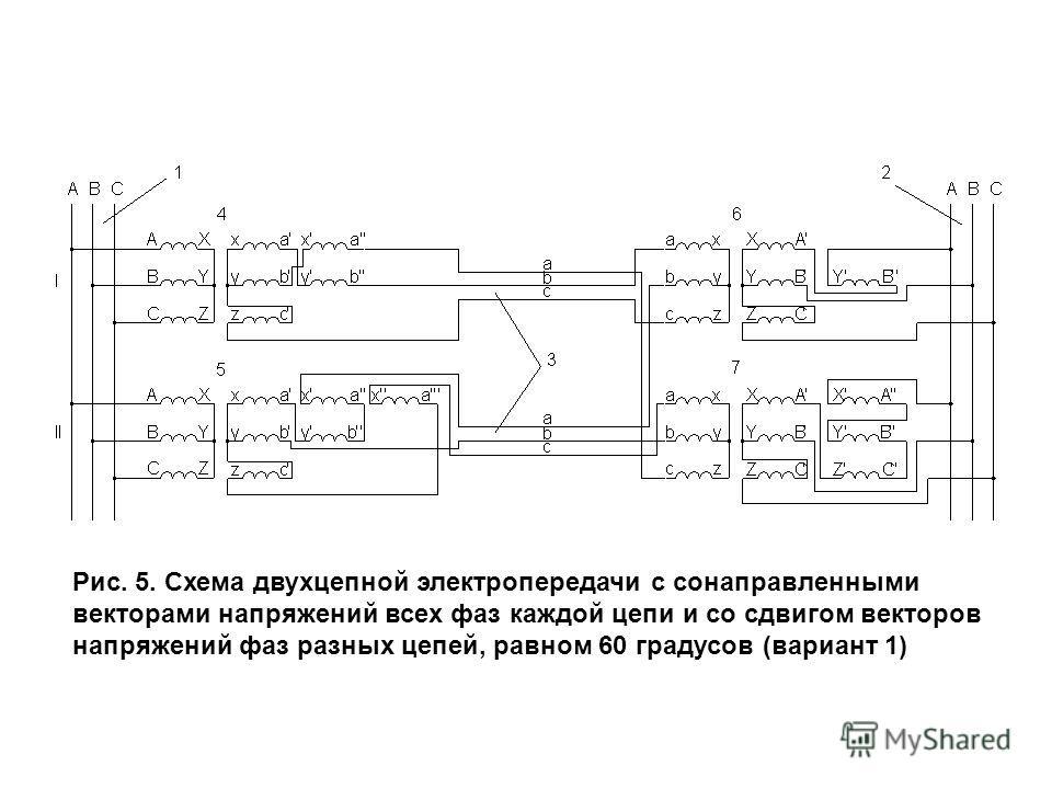 Рис. 5. Схема двухцепной электропередачи с сонаправленными векторами напряжений всех фаз каждой цепи и со сдвигом векторов напряжений фаз разных цепей, равном 60 градусов (вариант 1)