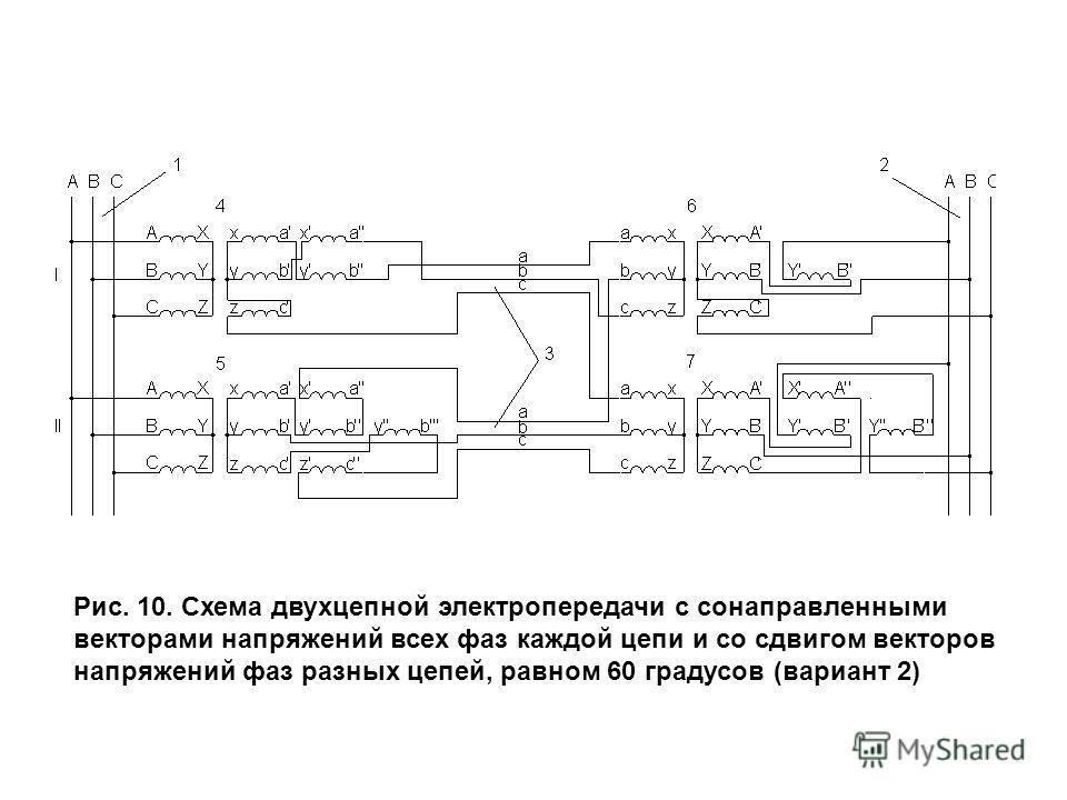 Рис. 10. Схема двухцепной электропередачи с сонаправленными векторами напряжений всех фаз каждой цепи и со сдвигом векторов напряжений фаз разных цепей, равном 60 градусов (вариант 2)
