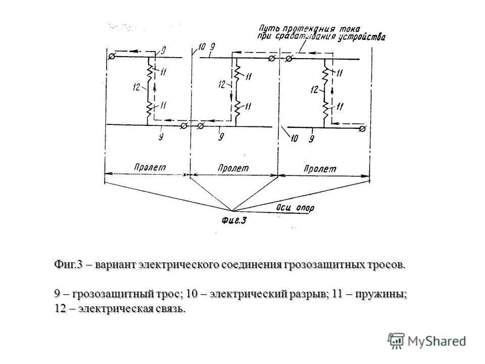 Фиг.3 – вариант электрического соединения грозозащитных тросов. 9 – грозозащитный трос; 10 – электрический разрыв; 11 – пружины; 12 – электрическая связь.