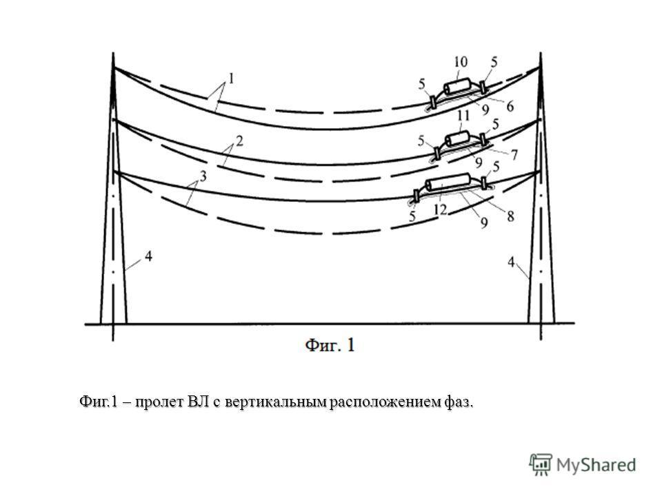 Фиг.1 – пролет ВЛ с вертикальным расположением фаз.