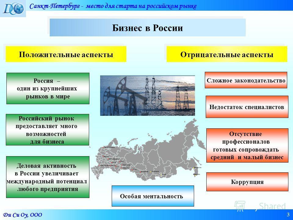 Ди Си Оу, ООО Санкт-Петербург - место для старта на российском рынке 3 Россия – один из крупнейших рынков в мире Деловая активность в России увеличивает международный потенциал любого предприятия Российский рынок предоставляет много возможностей для