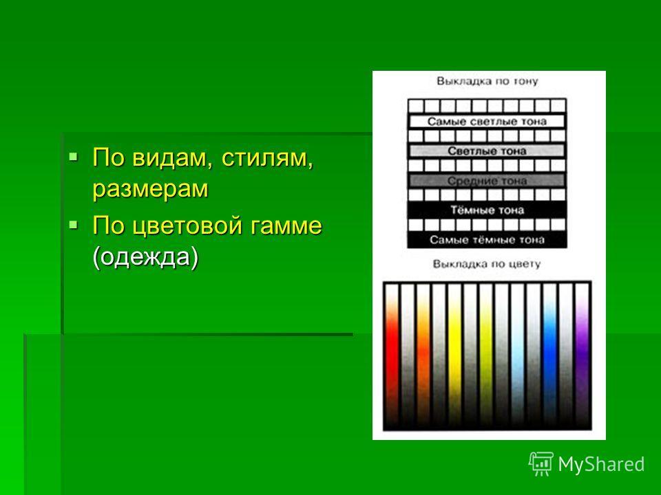 По видам, стилям, размерам По видам, стилям, размерам По цветовой гамме (одежда) По цветовой гамме (одежда)