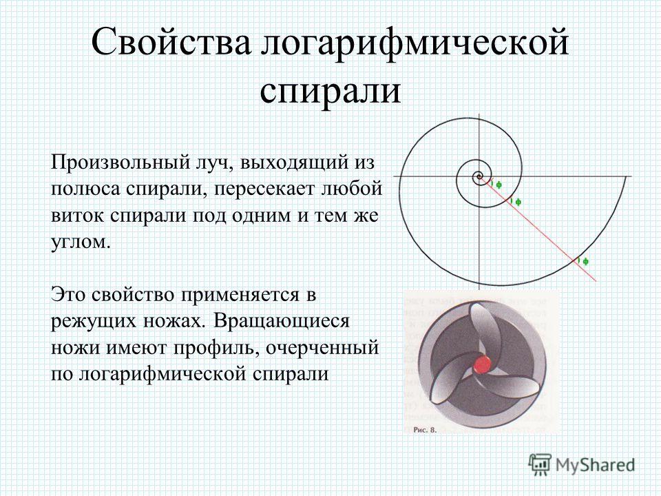 Уравнение логарифмической спирали Логарифмическая спираль описывается уравнением r=a ф, где r – расстояние от точки, вокруг которой закручивается спираль (ее называют полюсом), до произвольной точки на спирали, ф – угол поворота относительно полюса,