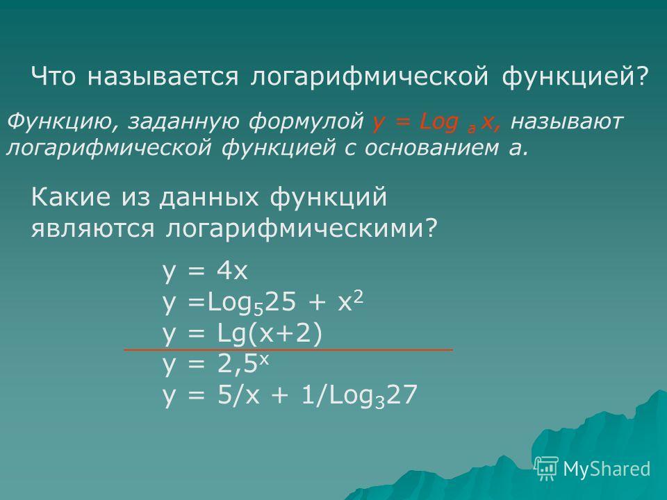 Определение логарифма числа. Логарифмом числа b по основанию а называется показатель степени, в которую нужно возвести основание а, чтобы получить число b. b Log a= a b Основное логарифмическое тождество