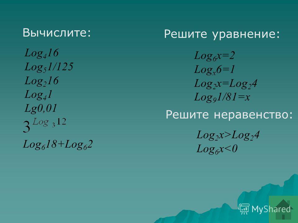 Назовите убывающие и возрастающие функции: y=Log 0,5 (x-2) y=Log 5,1 x 2 y=Ln x y=Log 2 4 y=Log 1\3 (5x)