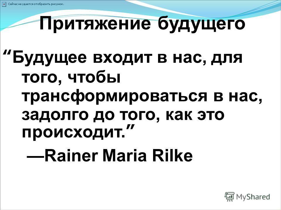 Притяжение будущего Будущее входит в нас, для того, чтобы трансформироваться в нас, задолго до того, как это происходит. Rainer Maria Rilke