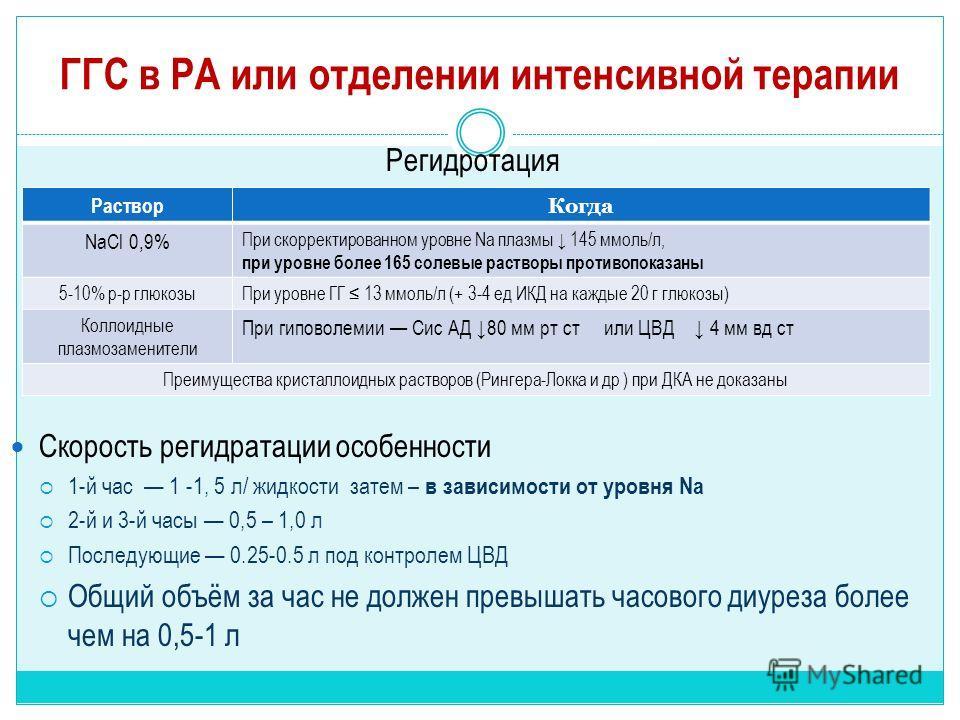 ГГС в РА или отделении интенсивной терапии Регидротация Скорость регидратации особенности 1-й час 1 -1, 5 л/ жидкости затем – в зависимости от уровня Na 2-й и 3-й часы 0,5 – 1,0 л Последующие 0.25-0.5 л под контролем ЦВД Общий объём за час не должен