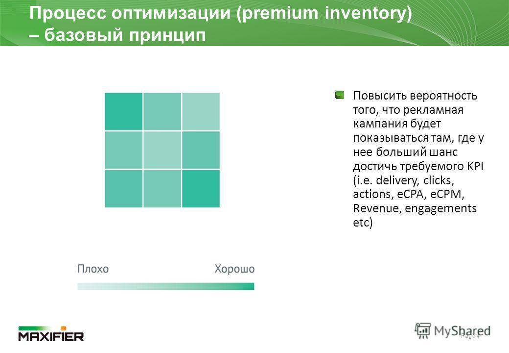 Page 4 DRAFT Процесс оптимизации (premium inventory) – базовый принцип Повысить вероятность того, что рекламная кампания будет показываться там, где у нее больший шанс достичь требуемого KPI (i.e. delivery, clicks, actions, eCPA, eCPM, Revenue, engag