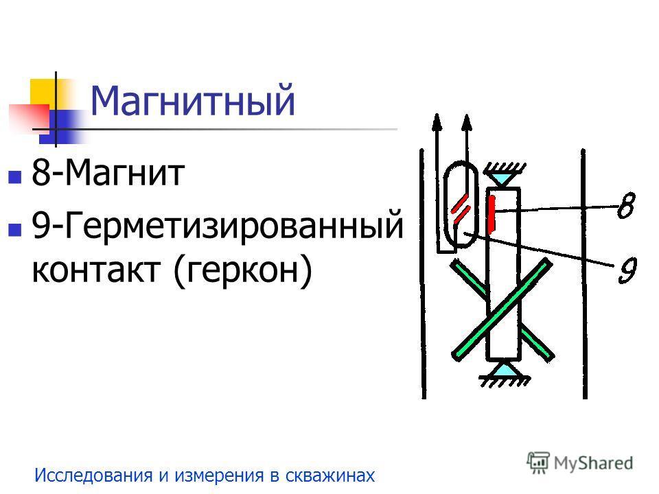 Исследования и измерения в скважинах Магнитный 8-Магнит 9-Герметизированный контакт (геркон)