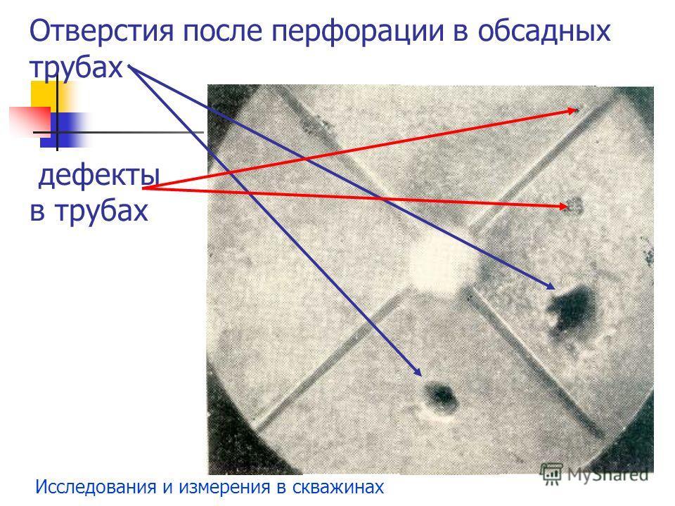 Исследования и измерения в скважинах Отверстия после перфорации в обсадных трубах дефекты в трубах