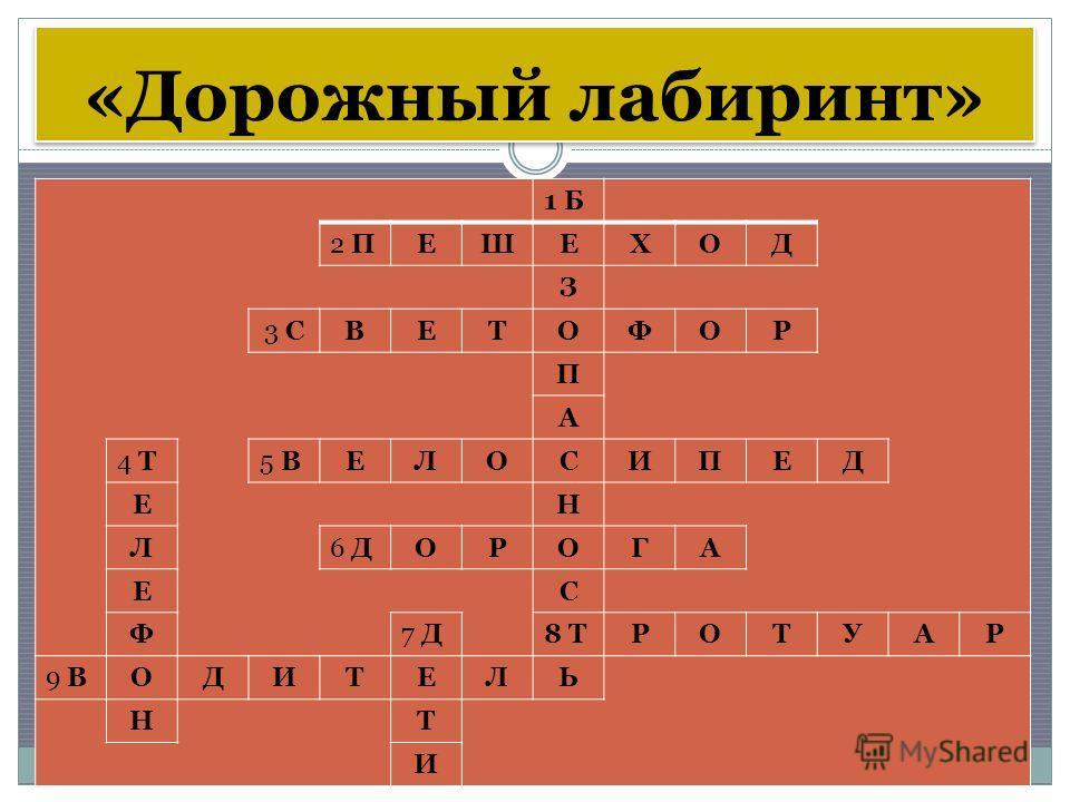 «Дорожный лабиринт» 1 2 3 45 6 78 9