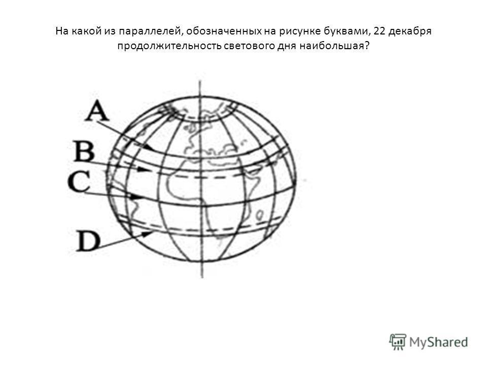 На какой из параллелей, обозначенных на рисунке буквами, 22 декабря продолжительность светового дня наибольшая?